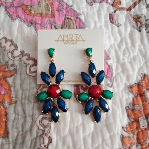 ♦️ Amrita Singh Blue Lapis/Turquoise/Ruby Earrings